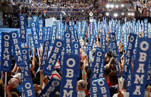 President Barack Obama takes the stage at the Democratic National Convention in ...