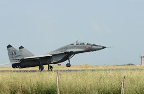 File: An Indian Air Force (IAF) MIG-29 jet takes off during a routine flying sortie at the IAF Air Base at Jamnagar some 350 kms from Ahmedabad on September 23, 2014.