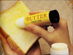 Butter can be tough to spread, especially when it's just been taken out of the refrigerator. The solution: Stick-On Butter. It's similar to the glue stick you used in elementary school, but filled with butter instead! As a result, you'll be able to butter your slice of bread with ease.