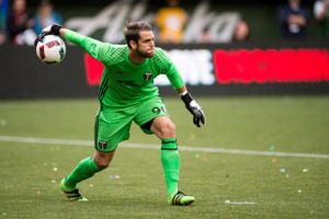 Jake Gleeson in actino for the Portland Timbers.
