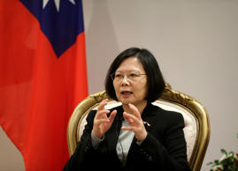 Taiwan's President Tsai Ing-wen speaks during an interview in Luque, Paraguay, J...