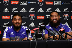 George Moala (L) and Charlie Faumuina of the All Blacks speak with the media during an All Blacks Media session.
