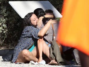 Relatives of victims comfort each other near the scene of the attack in Nice.