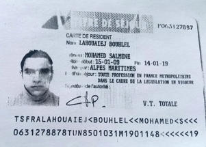 Lorry crashes into Bastille Day crowd, Nice, France - 15 Jul 2016 The ID card in the name of Nice terror suspect Mohamed Lahouaiej Bouhlel which was found in the cab of the lorry