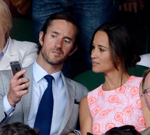"FILE - This is a July 6, 2016 file photo of Pippa Middleton and James Matthews on day nine of the Wimbledon Championships at the All England Lawn Tennis and Croquet Club, Wimbledon London. Pippa Middleton and fund manager James Matthews on Tuesday July 19, 2016 announced their engagement. (Anthony Devlin/PA via AP): <span style=""font-size:13px;"">Pippa Middleton has climbed the Matterhorn in Switzerland in memory of the brother of her fiance who died while descending Mount Everest.</span>"