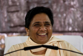 File: India's Bahujan Samaj Party (BSP) chief Mayawati smiles as she addresses journalists at a press conference in New Delhi, India, Tuesday, Sept. 22, 2015.