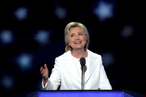 Democratic presidential candidate Hillary Clinton delivers remarks during the fo...