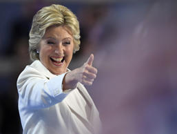 Democratic presidential nominee Hillary Clinton give a thumbs up after taking the stage to make her acceptance speech during the final day of the Democratic National Convention in Philadelphia , Thursday, July 28, 2016. (AP Photo/Mark J. Terrill)