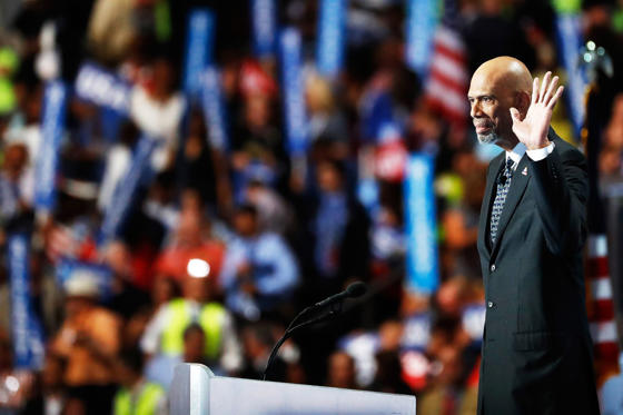 Retired professional basketball player Kareem Abdul-Jabbar delivers remarks attends on the fourth day of the Democratic National Convention at the Wells Fargo Center, July 28, in Philadelphia, Penn.