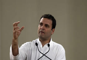 File: Congress party vice president Rahul Gandhi speaks during the celebration of 125th birth anniversary of the first Indian Prime Minister Jawaharlal Nehru in New Delhi, India, Saturday, Nov. 14, 2015.