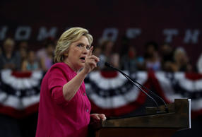 Democratic presidential nominee Hillary Clinton speaks during a campaign rally a...