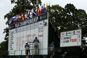 SPRINGFIELD, NJ - JULY 30:  A weather warning sign is seen on a leaderboard during a weather delay during the third round of the 2016 PGA Championship at Baltusrol Golf Club on July 30, 2016 in Springfield, New Jersey.  (Photo by Andrew Redington/Getty I