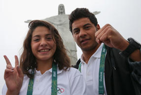 Olympic refugee team swimmers Yusra Mardini and Rami Anis.