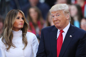NEW YORK, NY - APRIL 21:  Republican presidential candidate Donald Trump sits with his wife Melania Trump while appearing at an NBC Town Hall at the Today Show on April 21, 2016 in New York City.  The GOP front runner appeared with his wife and family an