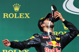 Daniel Ricciardo of Australia and Red Bull Racing celebrates on the podium during the Formula One Grand Prix of Germany at Hockenheim ring