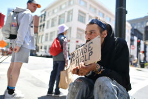 File image of Andrew Loy, who begs along a sidewalk in downtown San Francisco, Calif. In June.