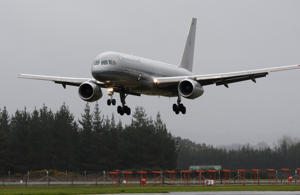 The Boeing 757 plane lands at Whenuapai Air Force Base.