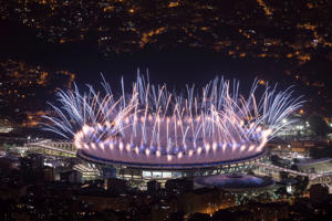 Fireworks explode over Maracana Stadium during the opening ceremony at the 2016 Summer Olympics in Rio de Janeiro, Brazil, Friday, Aug. 5, 2016. (AP Photo/Felipe Dana)