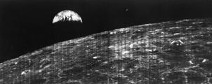 On Aug. 23, 1966, the world received its first view of Earth taken by a spacecraft from the vicinity of the Moon. The photo was transmitted to Earth by the Lunar Orbiter I and received at the NASA tracking station at Robledo De Chavela near Madrid, Spain. The image was taken during the spacecraft's 16th orbit.  Image credit: NASA