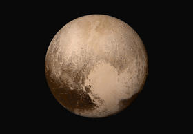 Four images from New Horizons' Long Range Reconnaissance Imager (LORRI) were combined with color data from the Ralph instrument to create this sharper global view of Pluto. (The lower right edge of Pluto in this view currently lacks high-resolution color coverage.) The images, taken when the spacecraft was 280,000 miles (450,000 kilometers) away from Pluto, show features as small as 1.4 miles (2.2 kilometers). That's twice the resolution of the single-image view captured on July 13 and revealed at the approximate time of New Horizons' July 14 closest approach.  Image Credit: NASA/JHUAPL/SwRI
