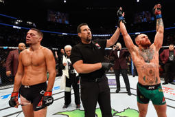 Conor McGregor of Ireland celebrates his win over Nate Diaz in their welterweight bout during the UFC 202 event at T-Mobile Arena on Saturday in Las Vegas.