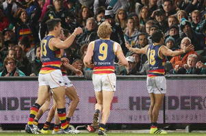 Eddie Betts celebrated in front of the Port fans after slotting a brilliant fifth goal.