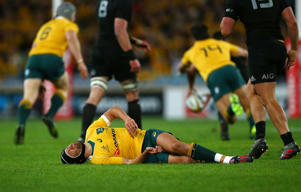 Matt Giteaur lies injured during the first Bledisloe Cup test between New Zealand and Australia.
