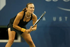 Martina Hingis during a second round match against Virginie Razzano at the 2006 US Open at the USTA Billie Jean King National Tennis Center in Queens, New York on August 31, 2006. (Photo by Mike Ehrmann/Getty Images)