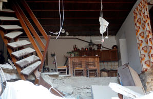 The interior of a house in Amatrice.