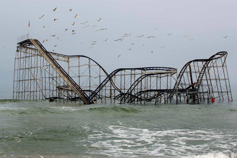 The remnants of the Jet Star roller coaster is pictured in the ocean, almost five months after Superstorm Sandy, in Seaside Heights, New Jersey March 21, 2013. The Jersey shore, a 127-mile stretch of beaches, small communities and kitschy icons, remains largely in shambles, with the traditional Memorial Day start to the summer season a mere two months away. Picture taken March 21, 2013.