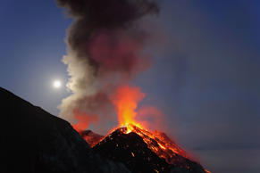STROMBOLI ISLAND, ITALY - MAY 9. EXCLUSIVE: A typical, but strong strombolian eruption from summit vent of Mt. Stromboli on May 9, 2009 in Stomboli Island, Italy. German electrical engineer Martin Rietze specialises in astronomical and meteorological equ
