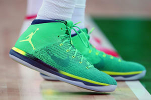 Nike shoes worn by Nene Hilario, No. 13 of Brazil, during the Brazil vs. Croatia match on Day 6 of the Rio 2016 Olympic Games.