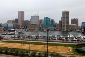 Partial view of the Baltimore Skyline as photographed from Federal Hill Park on April 9, 2015 in Baltimore, Maryland.