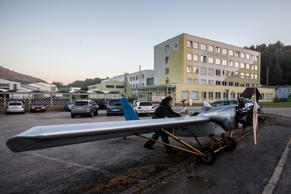 Frantisek Hadrava parks his plane after landing on August 24, 2016 in Ckyne, Czech Republic.
