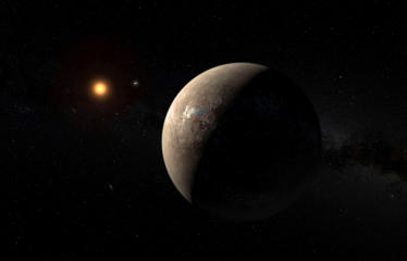 The planet Proxima b orbiting the red dwarf star Proxima Centauri, the closest star to our Solar System, is seen in an undated artist's impression released by the European Southern Observatory August 24, 2016.