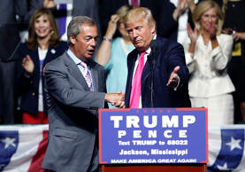 Nigel Farage, with Donald Trump at the rally in Mississippi.