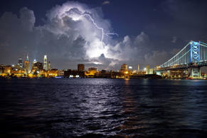 Lightning illuminates storm clouds over the Philadelphia skyline, Tuesday Aug. 16, 2016, seen from across the Delaware River in Camden NJ. (AP Photo/ Joseph Kaczmarek)