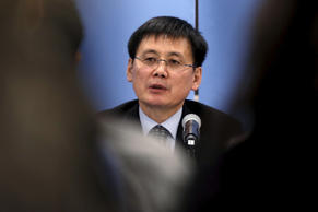 North Korean refugee Jung Gwang Il speaks at a news conference before attending a meeting of the United Nations Security Council on alleged human rights abuses by North Korea which has been accused by a U.N. inquiry of abuses comparable to Nazi-era atrocities at U.N. headquarters in New York, December 10, 2015.