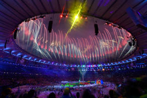 Fireworks seen near the conclusion of the closing ceremony of the Olympics at Maracana Stadium on Aug. 21.