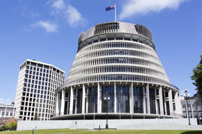 The parliament building called The Beehive in Wellington city.