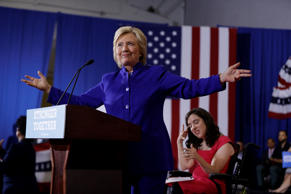 Democratic presidential candidate Hillary Clinton speaks during a campaign stop ...