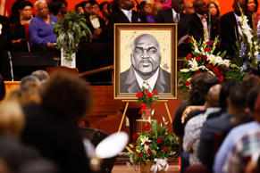 An artistic depiction of Terence Crutcher is displayed at his funeral in Tulsa, ...