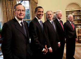 <p>In the oval office, Former President George Bush., President-elect Barack Obama, President George W. Bush, former Presidents Bill Clinton and Jimmy Carter, Washington, D.C., January 7, 2009.</p>