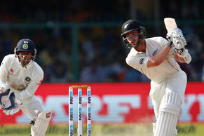 New Zealand's Kane Williamson plays a shot.