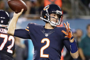 Brian Hoyer of the Chicago Bears passes against the Philadelphia Eagles at Soldier Field