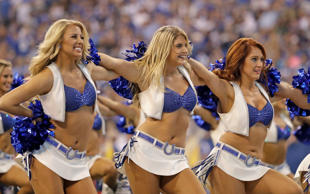 Indianapolis Colts cheerleaders cheer during the first half of an NFL football game between the Indianapolis Colts and the San Diego Chargers, Sunday, Sept. 25, 2016, in Indianapolis.