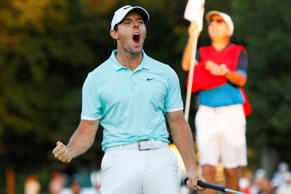 Sep 25, 2016; Atlanta, GA, USA; Rory McIlroy reacts as he approaches the sixteen...
