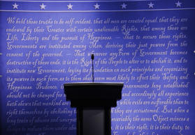 The stage is set for the presidential debate between Democratic presidential candidate Hillary Clinton and Republican presidential candidate Donald Trump at Hofstra University in Hempstead, N.Y., Sunday, Sept. 25, 2016.