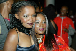 South African journalist and television presenter Kuli Roberts and her sister actress, Hlubi Mboya at the Duku Duku Awards in Johannesburg, South Africa on 23 September 2003.