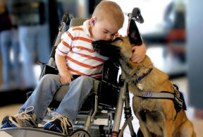 <p>A victim of Sanfilippo syndrome, Lucas Hembree gives his service dog Juno some candid affection—and the love doesn't stop there. Lucas' father, a former law enforcement officer, trained Juno himself, after Lucas was labeled as a poor candidate for a service animal. Tissue, anyone?</p>